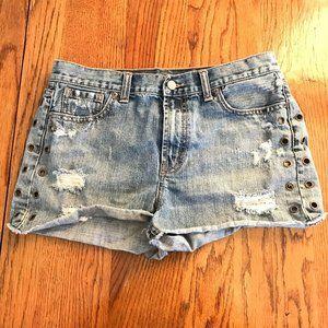 London Jean Distressed Denim Mini Shorts 8